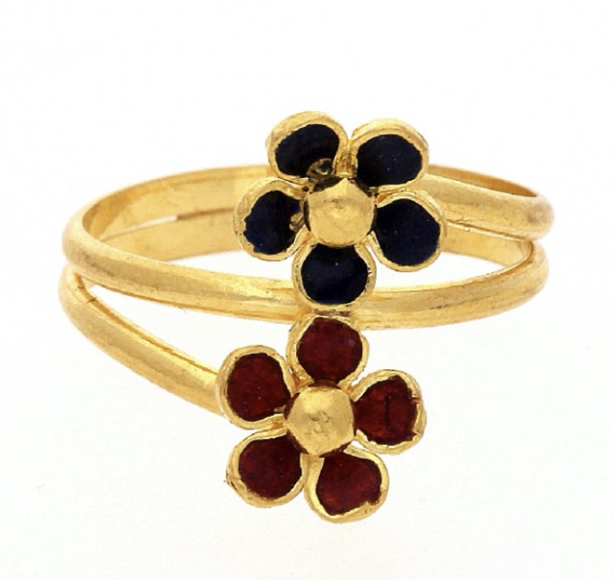 23k gold ring red and black stone